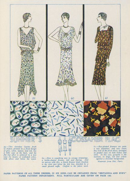 Print frocks in georgette & chiffon: casino frock with cape, scalloped yokes & uneven hem; bertha corsage, flared flounce & pleated ruffle trim; brown dress: box-pleated flounces