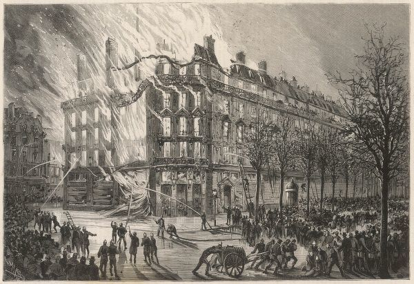 Printemps Department Store in flames, Paris
