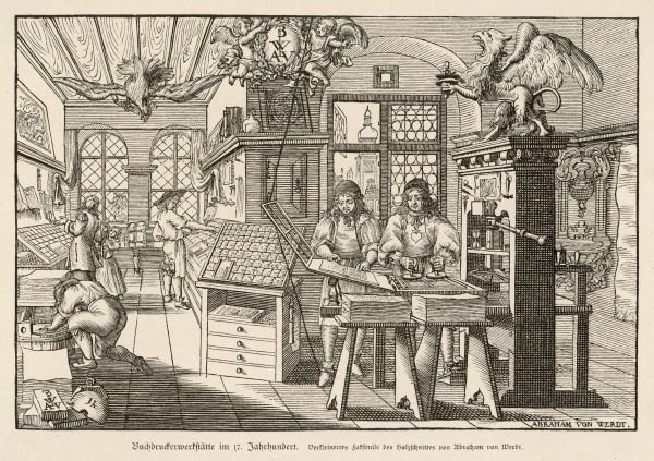 A flat-bed press and other printing equipment in a German printer's workshop (Buchdruckerwerkstatte)