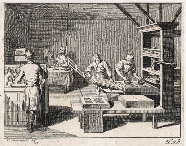 A scene in a printing office