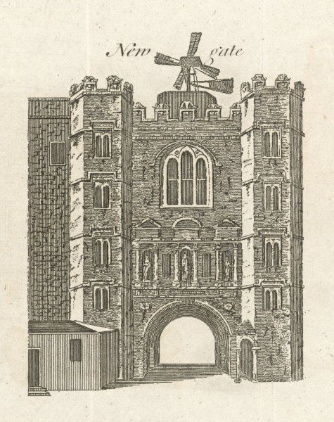 The entrance to Newgate Prison, showing the windmill, apparently used to circulate air