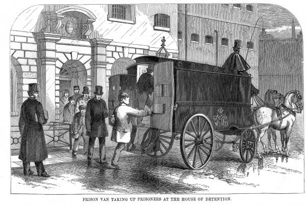 Prison Van taking prisoners to the Middlesex House of Detention at Clerkenwell. Date: 1862