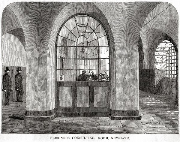 Prisoners' consulting room at Newgate Prison, London. Date: 1862