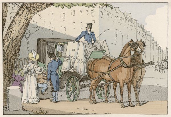 A fashionable lady and her children enter their carriage in the Chaussee d'Antin, Paris