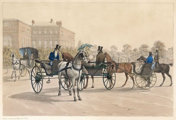 A meeting of elegant gentlemen and ladies in their carriages, at Hyde Park Corner, London