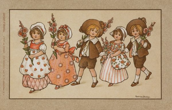 Five children, dressed in charming pink and brown outfits form a small procession carrying stalks of flowers, probably hollyhocks