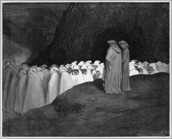 Dante and Virgil watch the long and winding procession of the damned as they make their way to eternal damnation