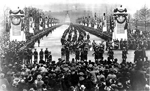 Photograph showing the triumphal procession of the Guards up the Mall, from Buckingham Palace to Marlborough Yard, at the end of the First World War, 1919