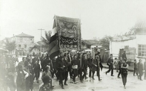 Procession of the standard of Liberation. Young Turk revolutionaries in Macedonia. Date: circa 1908