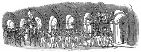 Engraving showing the procession through the Thames Tunnel, between Rotherhithe and Wapping, to mark its opening on 25 March 1843