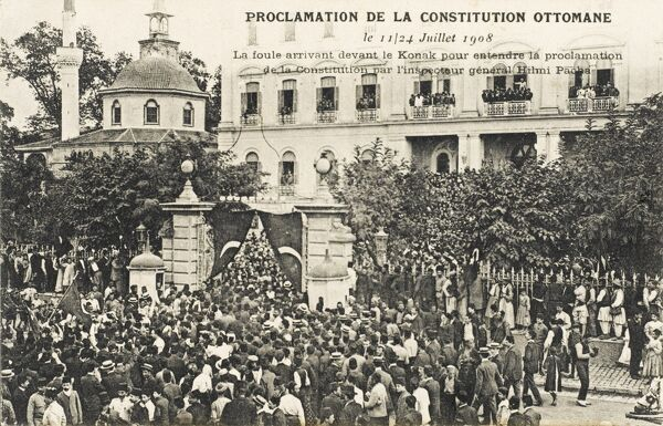 The Proclamation of the new Constitution established after the Young Turk Revolution of July 3, 1908. The crowd assembled in front of the Town Hall to hear the proclamation by the Inspector General Hilmi Pasa