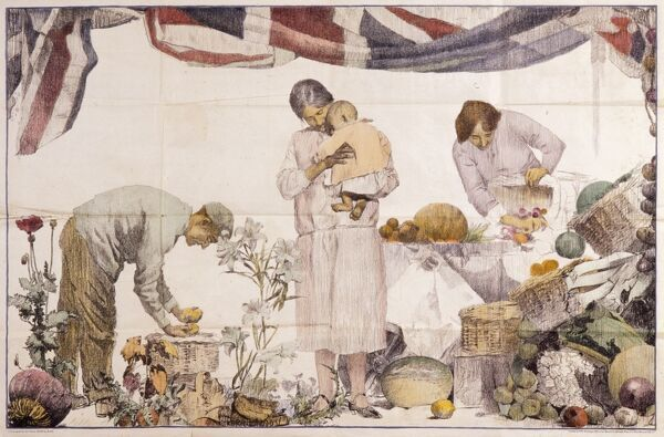 Unidentified illustration but possibly for an Empire Marketing Board poster, featuring people from around the world, standing under a Union Jack flag and surrounded by a wide range of exotic produce. Date: c.1930