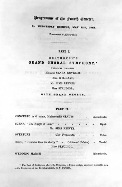 Programme for Beethoven's grand choral symphony, with principal vocalists Clara Novello, Miss Williams, Mr. Sim Reeves, Herr Staudigl. Date: 12th May 1852
