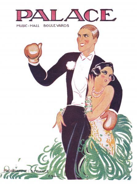 Programme cover for Femmes et Sports, featuring Georges Carpentier and Florence Walton at the Palace Theatre, Paris 1927. Artwork by Charles Gesmar