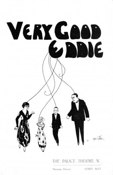 Programme cover for Very Good Eddie staged at the Palace Theatre, London, 1918. Artwork by Dolly Tree. Date: 1918