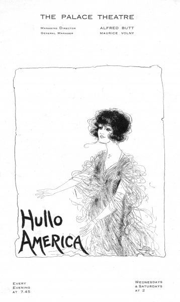 Programme cover for Hullo America, staged at the Palace Theatre, London, 1918. Artwork by Dolly Tree. Date: 1918
