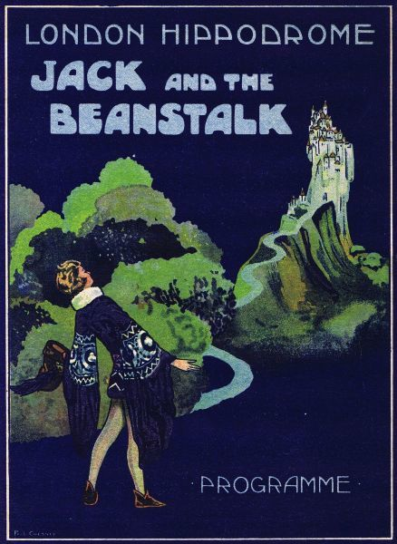 Programme cover for Jack and the Beanstalk staged at the London Hippodrome by Julian Wylie, 1921. Artwork by Paul Chesney. Date: 1921