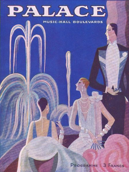 Programme cover for the Palace Theatre, Paris 1926-1931. Artwork by Edouard Halouze