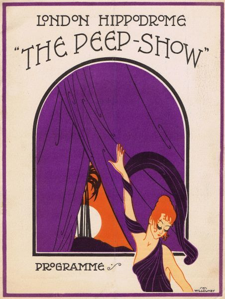 Programme cover for The Peepshow staged at the London Hippodrome by Julian Wylie, 1921. Artwork by Hugh Willoughby. Date: 1921