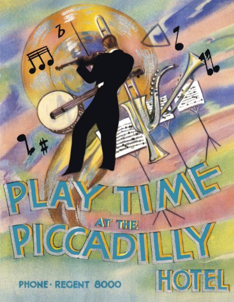 Programme cover for Playtime at the Piccadilly at the Piccadilly Hotel, London, 1930s Date: 1930s