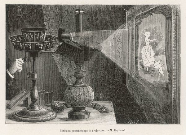 Reynaud's praxinoscope adapted for projection onto a screen : later he would adapt it for projection in a large hall