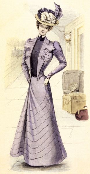 Open jacket bodice, irregular shaped revers, high necked blouse, gored skirt trimmed with concentric narrow bands, puff at top of sleeves, profusely ornamented straw hat Date: 1899
