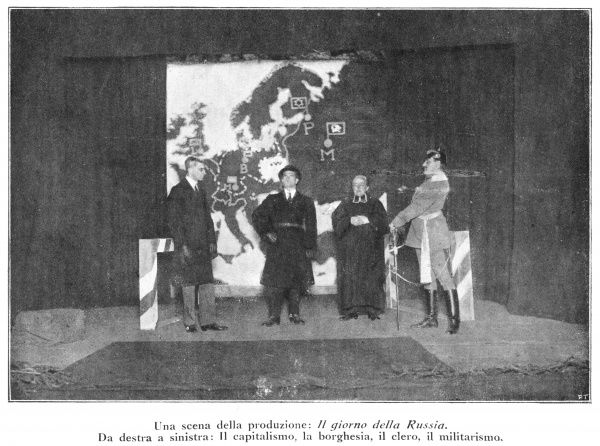 A scene from the stage play 'Russia's Day' featuring four enemies of the revolution - the capitalist, the bourgeois, the priest and the soldier