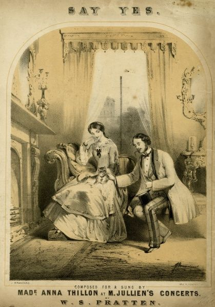 Proposing on bended knee Date: 1850s