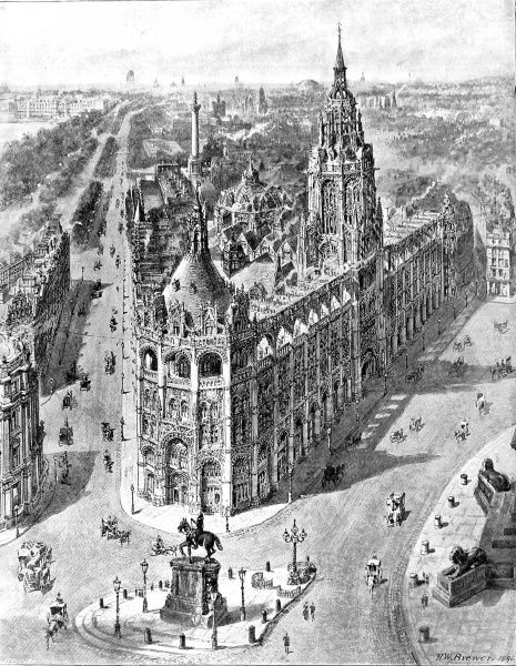 Illustration showing a proposal put forth in 1896 for the new London County Council Hall at Charing Cross and the opening up of the Mall