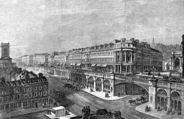 Engraving showing a viaduct between St. Sepulchre's Church and Hatton Garden, London, proposed by F. Marrable in 1861
