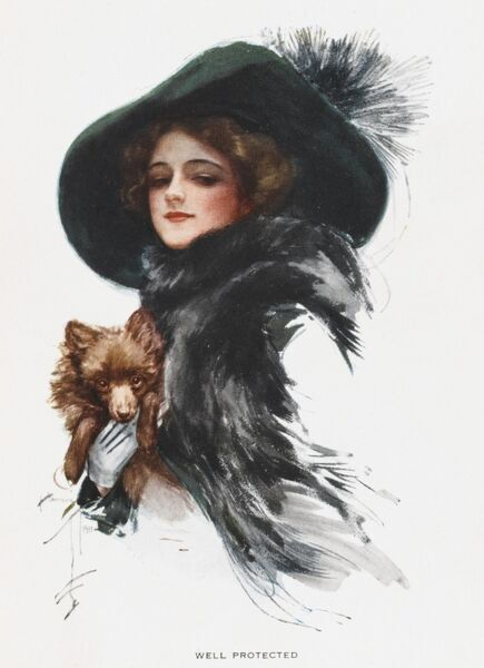 An elegant young American woman in black coat and hat is well protected by her little dog