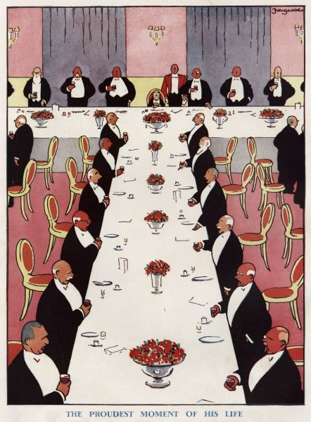 The Proudest Moment of his Life by Fougasse (Cyril Kenneth Bird 1887-1965). A small man, profoundly embarrassed, sits at the head of a table at a company or club dinner in his honour as everyone drinks a toast. Date: 1930