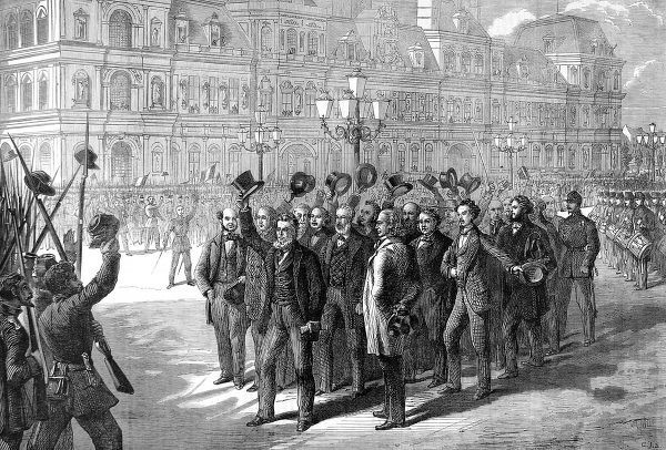 Illustration showing the Provisional Government reviewing the National Guard during the Franco-Prussian War of 1870-1. The Provisional Government of National Defence was set up after the French defeat at Sedan. It was headed by General Trochu