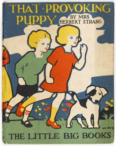 A stylised, colourful and bold front cover of a children's book featuring two children walking in a park or garden with their dog