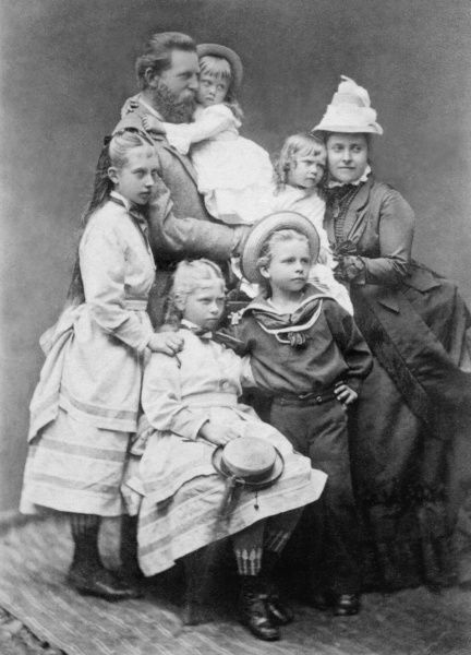 Crown Prince Frederick (Fritz) of Prussia, later Emperor Friedrich III, and his wife the Crown Princess, formerly 'Vicky', Princess Royal of Great Britain with five of their children; Charlotte (standing), Margaret (in the Crown Prince's arms)
