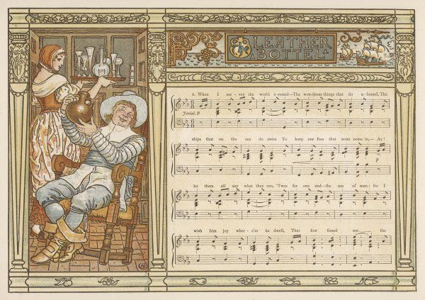 Words and music to a song, 'The Leather Bottel', with an appropriately jolly scene on the left