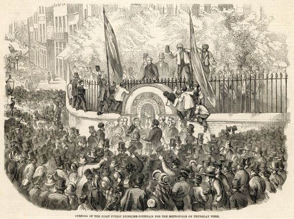 The opening ceremony for the first public drinking fountain in London, performed by Mrs Wilson, daughter of the Archbishop of Canterbury. The fountain was located at the south east corner of the churchyard of St Sepulchres church, Snow Hill