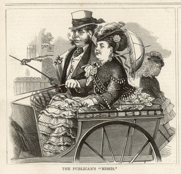 A publican and his wife in their best clothes, travelling in an open carriage
