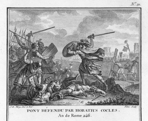Publius Horatius Cocles, an army officer of the Roman Republic, together with two companions, Spurius Larcius and Titus Herminius, defends the Tiber bridge (the Pons Sublicius) against the Etruscan enemy