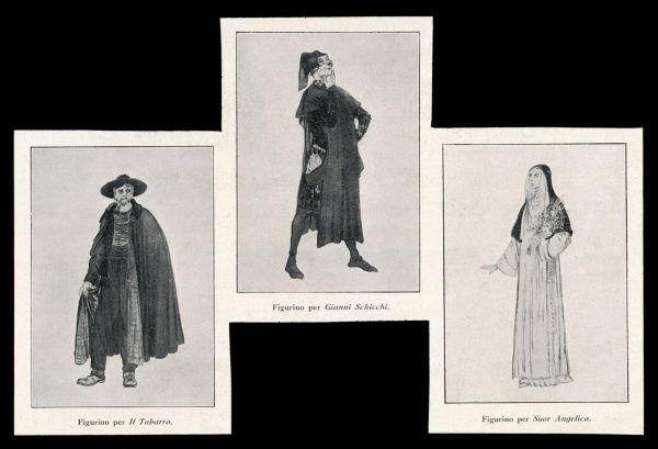 "Costume designs for characters in each of the three plays in the triptych : 1. ""Il Tabarro"" 2. ""Gianni Schicci"" 3. ""Suor Angelica&quot"