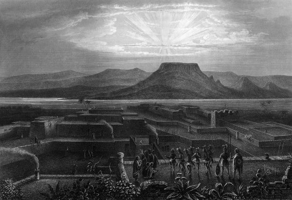 Native American pueblo in New Mexico Date: 1850