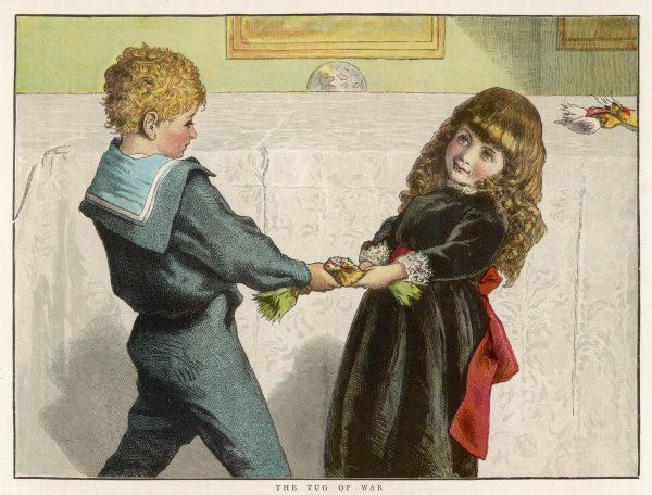 Boy in sailor suit shares a cracker with a nervous little girl