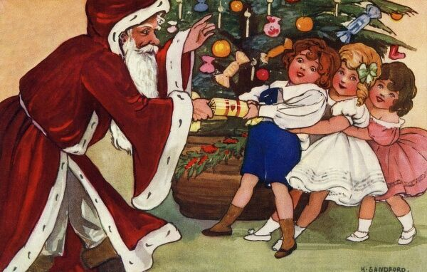 Pulling a cracker with Santa by Hilda Dix Sandford. Illustration from a postcard by Hilda Dix Sandford (1875-1946). She specialised illustrating children at play. Date: circa 1909