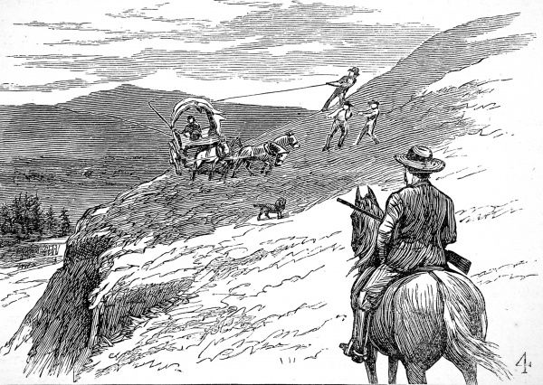 Engraving showing a wagon making its way around a steep hill above the river in Yellowstone National Park, 1883. The river bank is so steep that three men are needed to pull ropes to keep the wagon upright