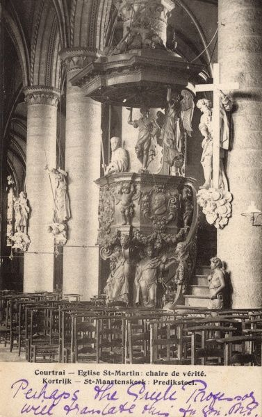 The ornate baroque pulpit in the church of St Martin in Courtrai (Kortrijk), West Flanders, Belgium. Date: circa 1917