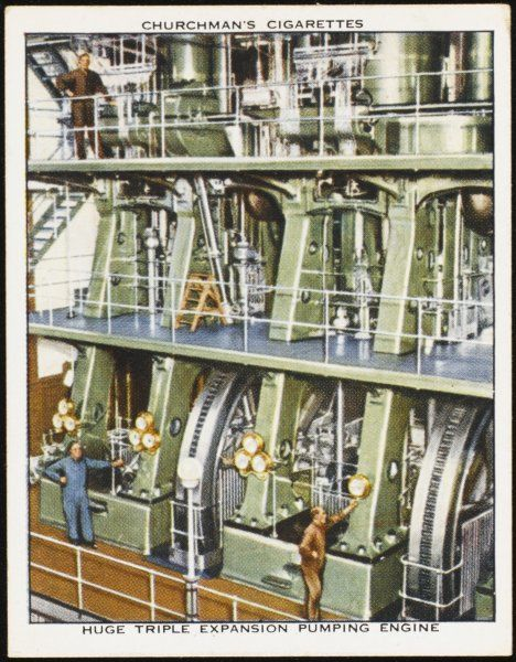 Kempton Park, Surrey : the triple expansion pumping engine in the waterworks. Note the size of the men