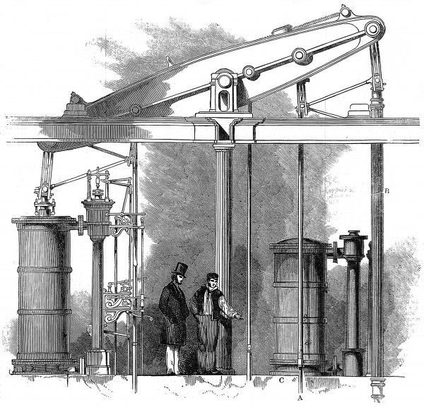 Engraving showing one of the pumping engines used to draw water, from deep underneath Trafalgar Square, to supply the fountains and nearby Government offices, 1845