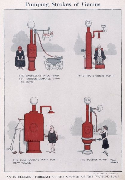 An intelligent forecast of the growth of wayside pumps. Please note: Credit must appear as Courtesy of the estate of Mrs J.C.Robinson/Pollinger Ltd/ILN/Mary Evans