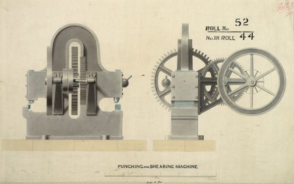 Punching and shearing machine, front and side elevations Date: 1853