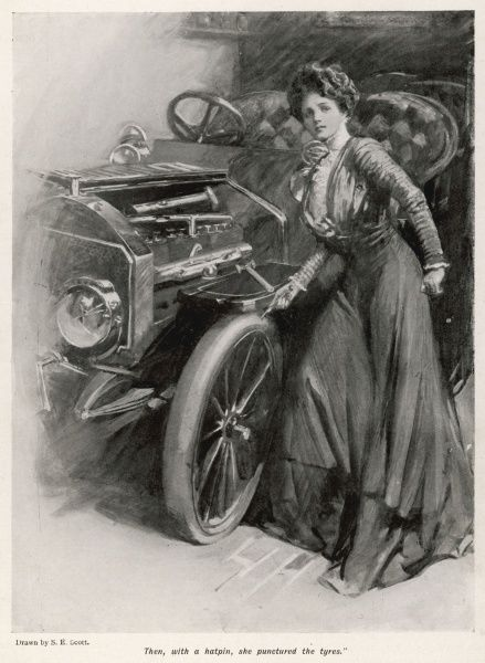 The uses of a hat-pin : she punctures the tyres of the villain's car, to prevent him making his getaway